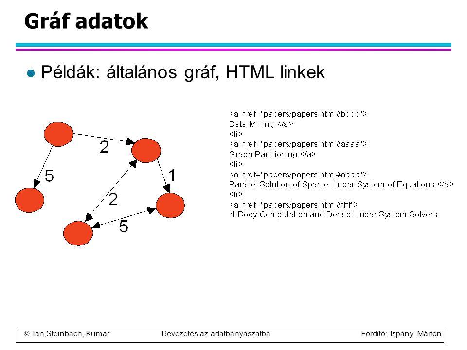 Gráf adatok Példák: általános gráf, HTML linkek