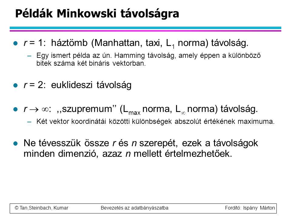 Példák Minkowski távolságra