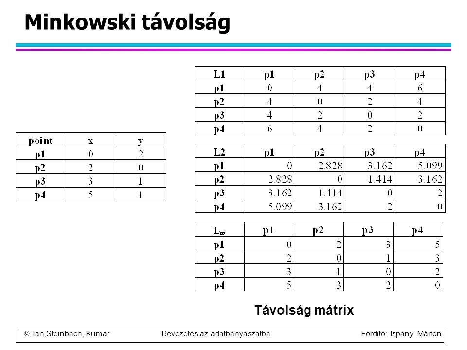 Minkowski távolság Távolság mátrix