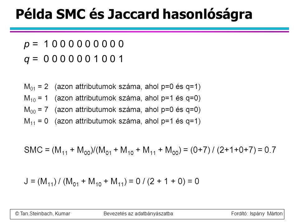 Példa SMC és Jaccard hasonlóságra