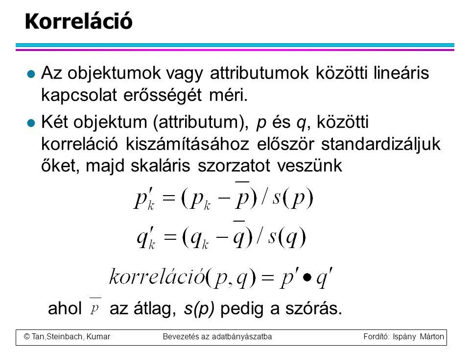 Korreláció Az objektumok vagy attributumok közötti lineáris kapcsolat erősségét méri.