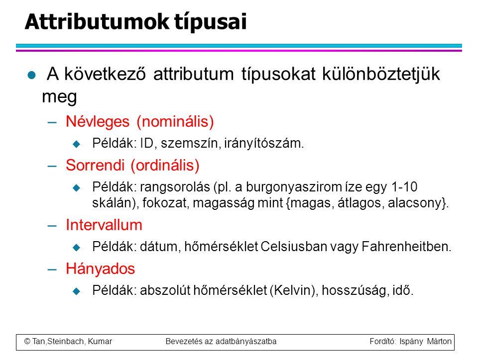 Attributumok típusai A következő attributum típusokat különböztetjük meg. Névleges (nominális) Példák: ID, szemszín, irányítószám.