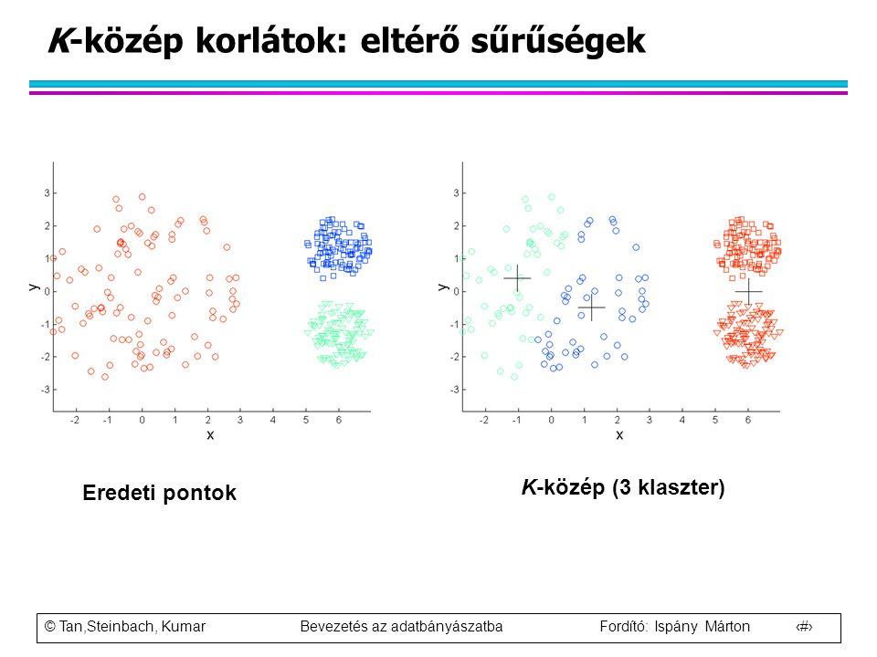 K-közép korlátok: eltérő sűrűségek