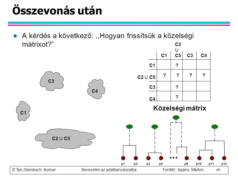 Összevonás után A kérdés a következő: ,,Hogyan frissítsük a közelségi mátrixot C2 U C5. C1. C3.