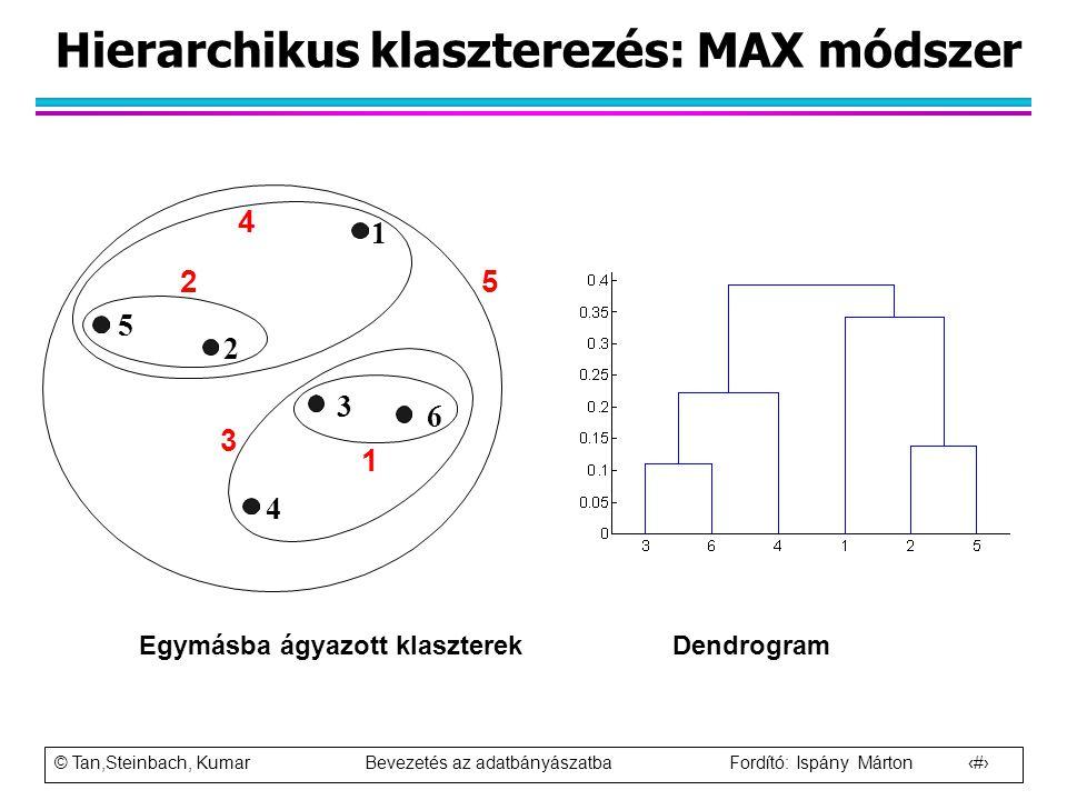 Hierarchikus klaszterezés: MAX módszer