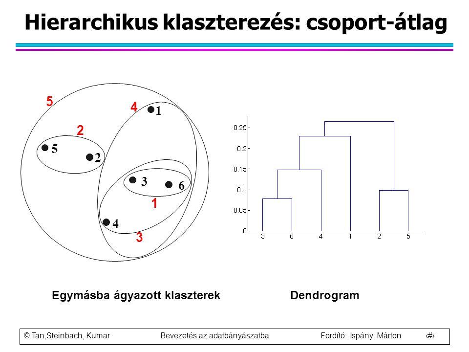 Hierarchikus klaszterezés: csoport-átlag