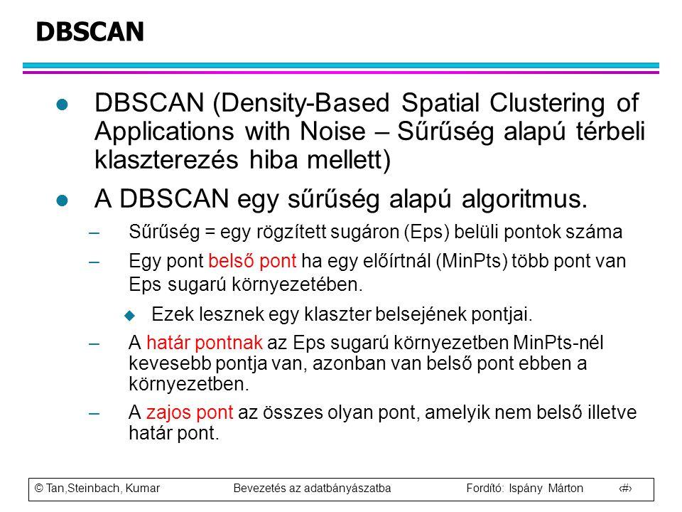 A DBSCAN egy sűrűség alapú algoritmus.