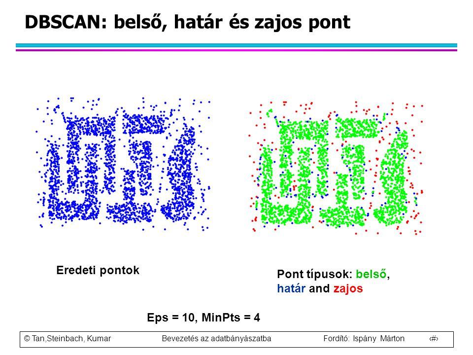 DBSCAN: belső, határ és zajos pont