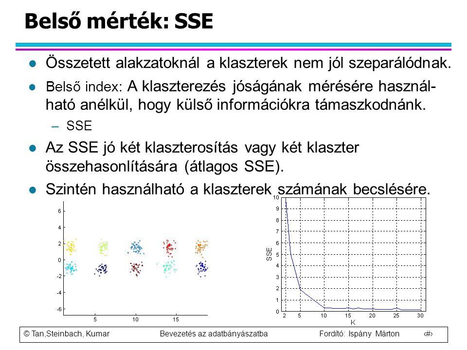 Belső mérték: SSE Összetett alakzatoknál a klaszterek nem jól szeparálódnak.