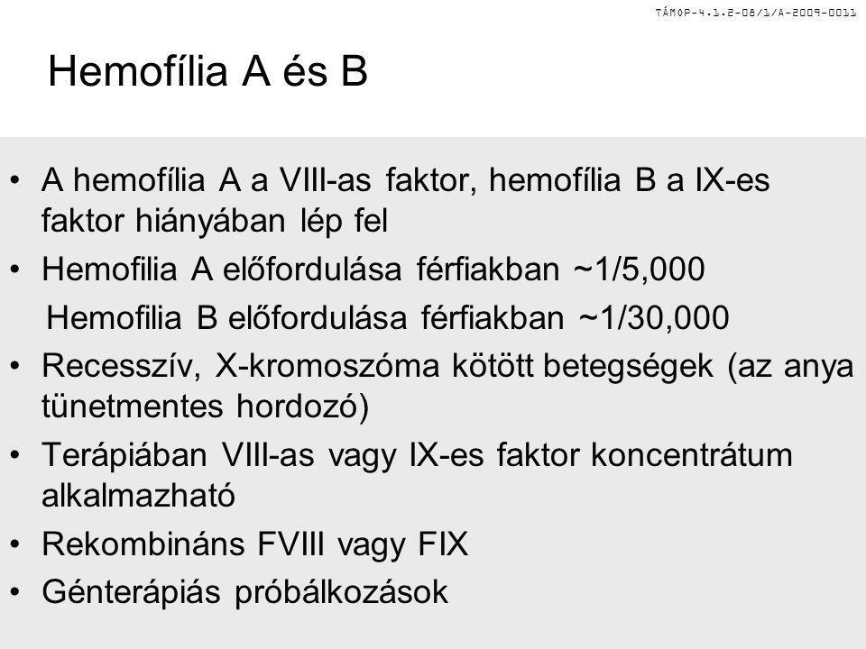 Hemofília A és B A hemofília A a VIII-as faktor, hemofília B a IX-es faktor hiányában lép fel. Hemofilia A előfordulása férfiakban ~1/5,000.