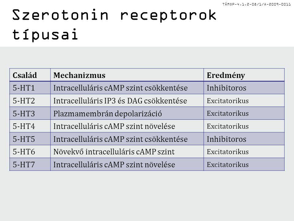 Szerotonin receptorok típusai