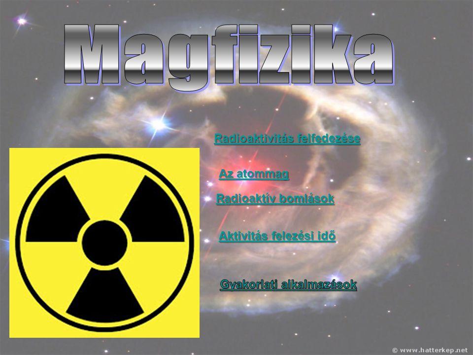 Magfizika Radioaktivitás felfedezése Az atommag Radioaktív bomlások