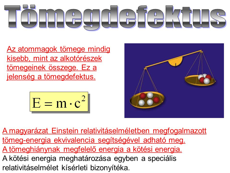 Tömegdefektus Az atommagok tömege mindig kisebb, mint az alkotórészek tömegeinek összege. Ez a jelenség a tömegdefektus.