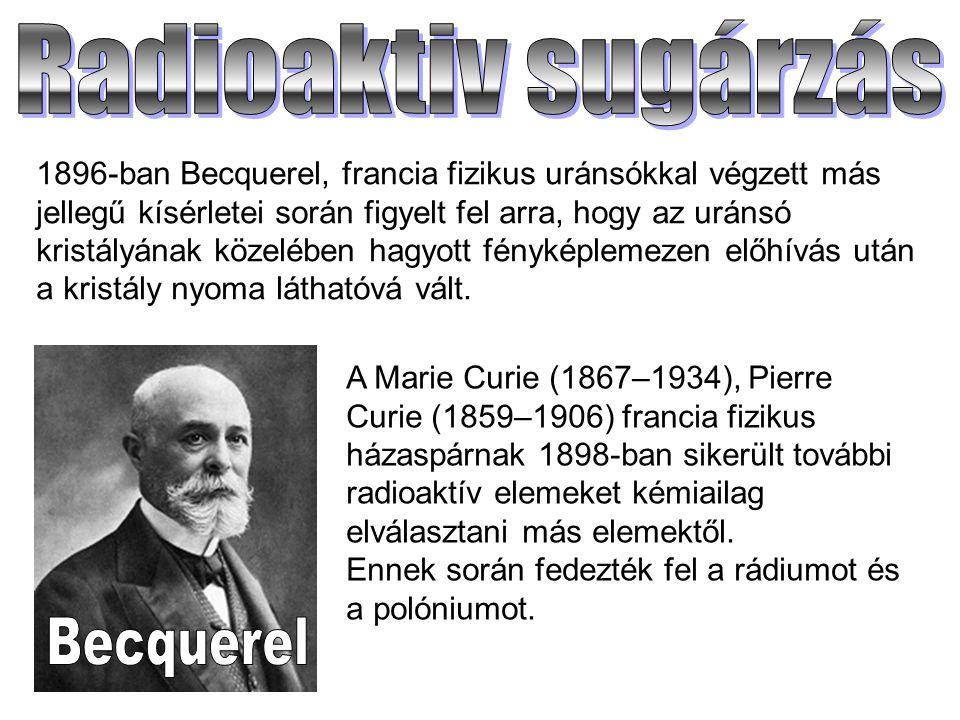 Radioaktiv sugárzás Becquerel