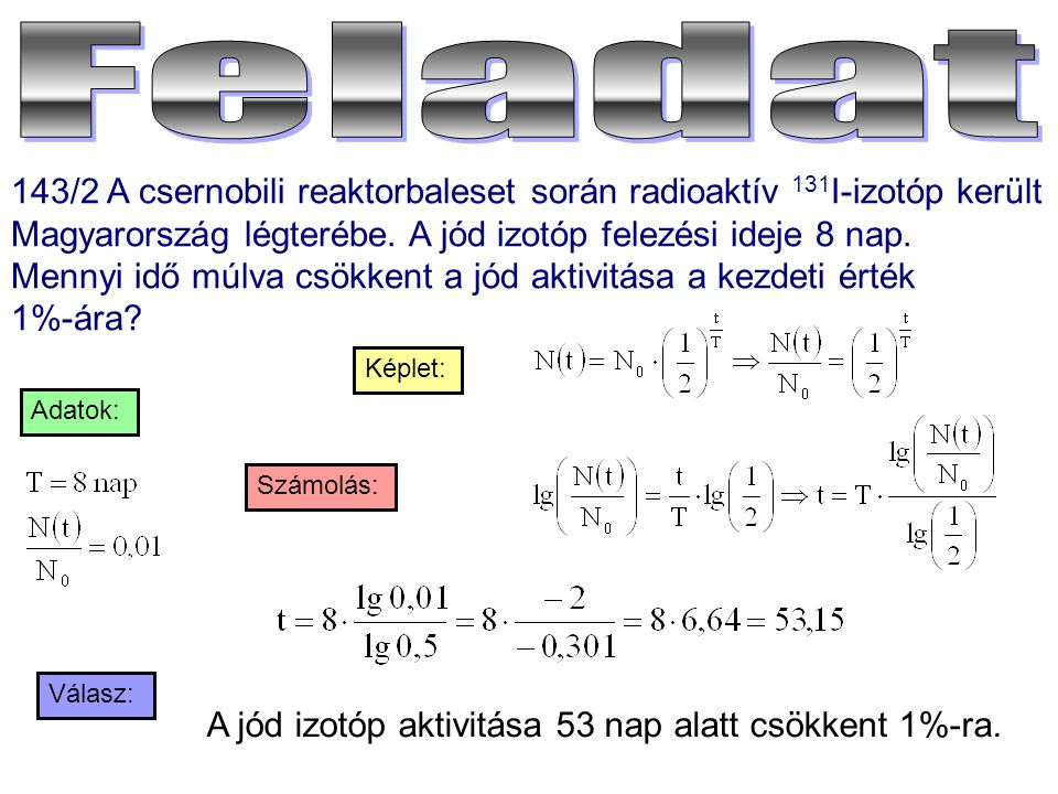 Feladat 143/2 A csernobili reaktorbaleset során radioaktív 131I-izotóp került Magyarország légterébe. A jód izotóp felezési ideje 8 nap.