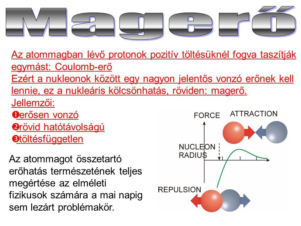 Magerő Az atommagban lévő protonok pozitív töltésüknél fogva taszítják egymást: Coulomb-erő.