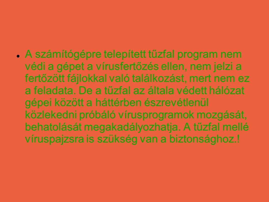 A számítógépre telepített tűzfal program nem védi a gépet a vírusfertőzés ellen, nem jelzi a fertőzött fájlokkal való találkozást, mert nem ez a feladata.