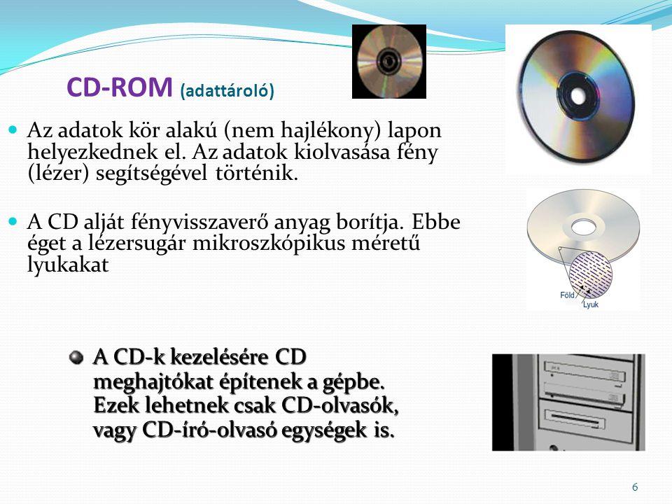 CD-ROM (adattároló) Az adatok kör alakú (nem hajlékony) lapon helyezkednek el. Az adatok kiolvasása fény (lézer) segítségével történik.