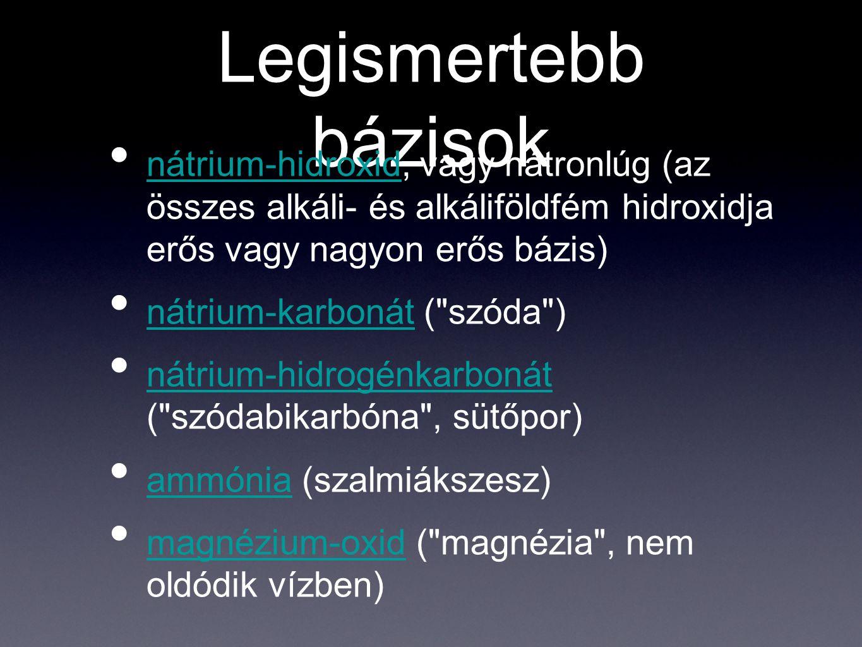 Legismertebb bázisok nátrium-hidroxid, vagy nátronlúg (az összes alkáli- és alkáliföldfém hidroxidja erős vagy nagyon erős bázis)