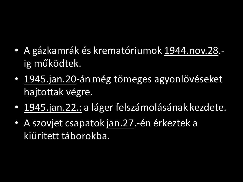 A gázkamrák és krematóriumok 1944.nov.28.-ig működtek.