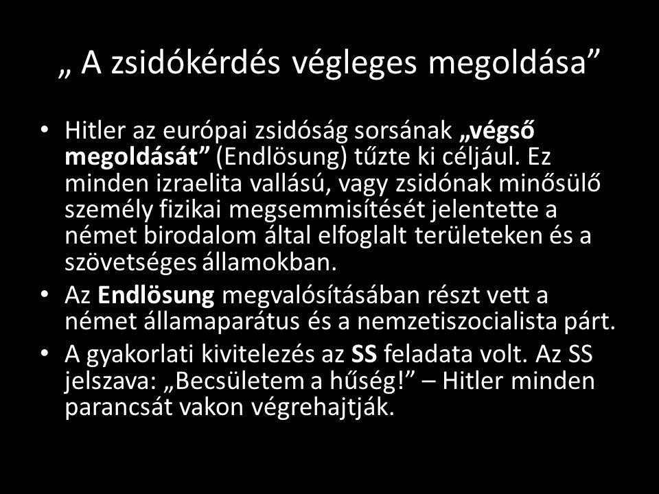 """"""" A zsidókérdés végleges megoldása"""