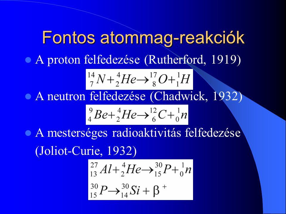Fontos atommag-reakciók
