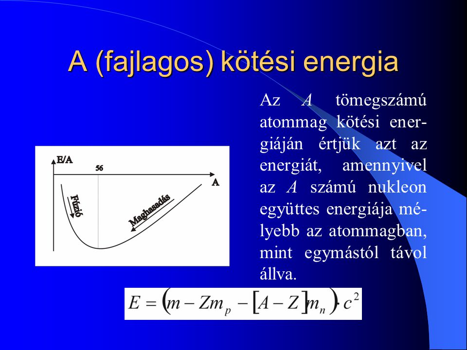 A (fajlagos) kötési energia