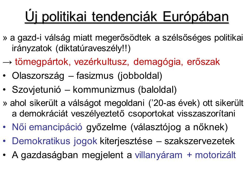 Új politikai tendenciák Európában