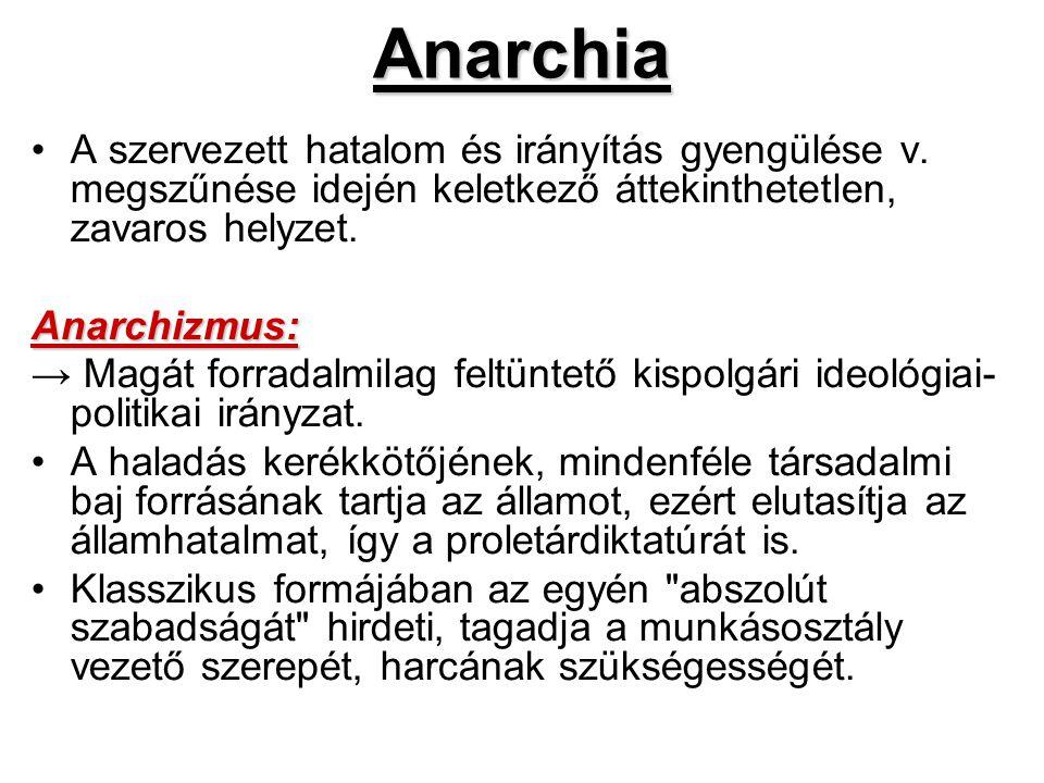Anarchia A szervezett hatalom és irányítás gyengülése v. megszűnése idején keletkező áttekinthetetlen, zavaros helyzet.