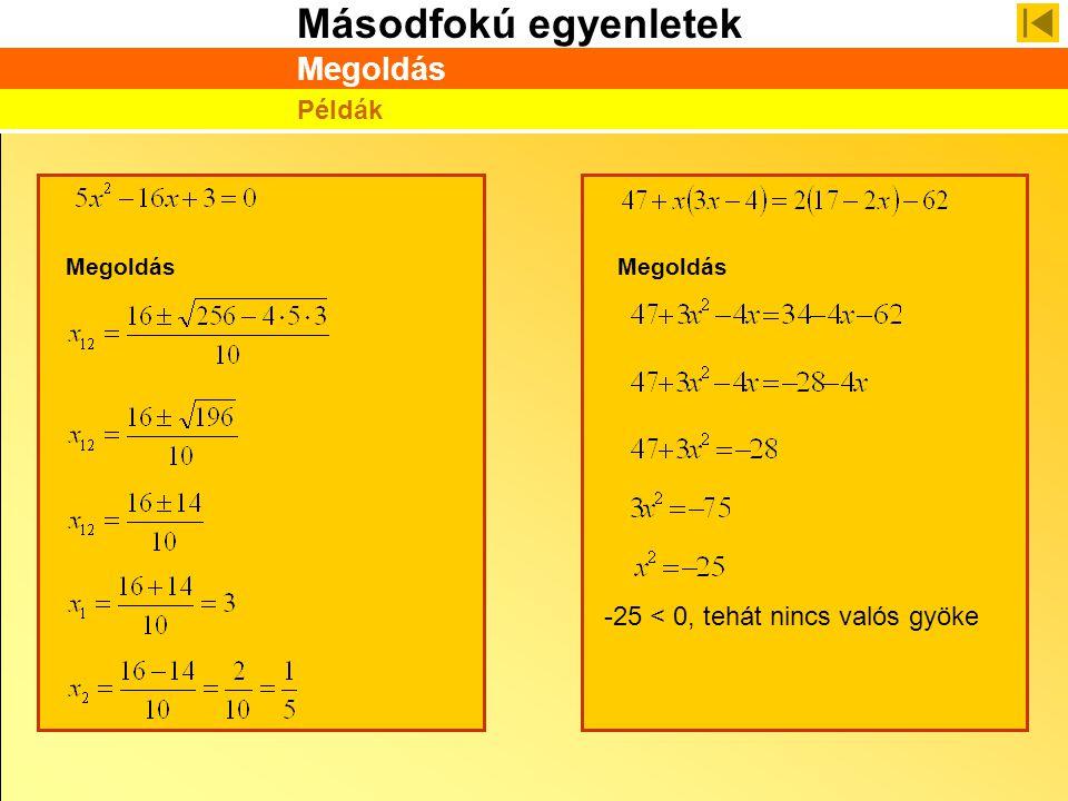 Megoldás Példák Megoldás Megoldás -25 < 0, tehát nincs valós gyöke