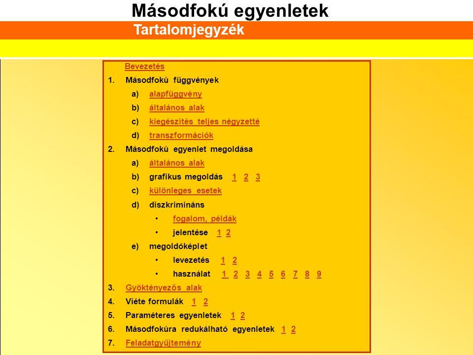 Tartalomjegyzék Bevezetés Másodfokú függvények alapfüggvény