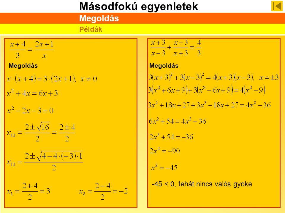 Megoldás Példák Megoldás Megoldás -45 < 0, tehát nincs valós gyöke