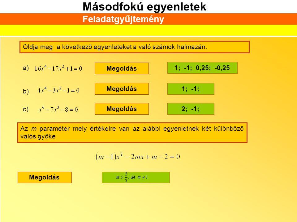 Feladatgyűjtemény Oldja meg a következő egyenleteket a való számok halmazán. a) Megoldás. 1; -1; 0,25; -0,25.