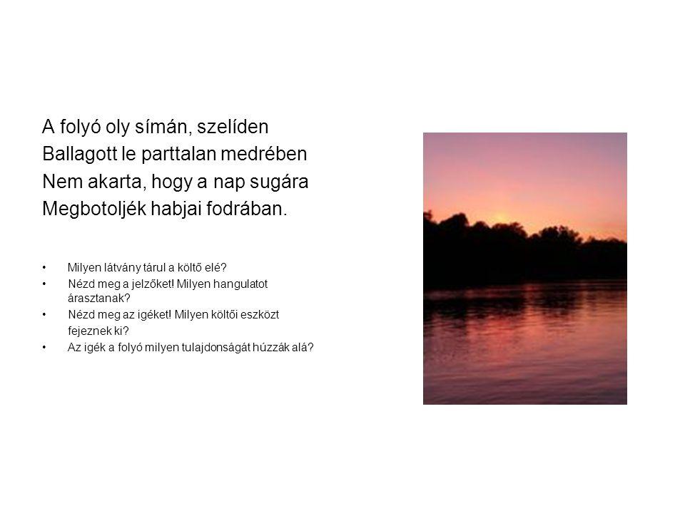 A folyó oly símán, szelíden Ballagott le parttalan medrében