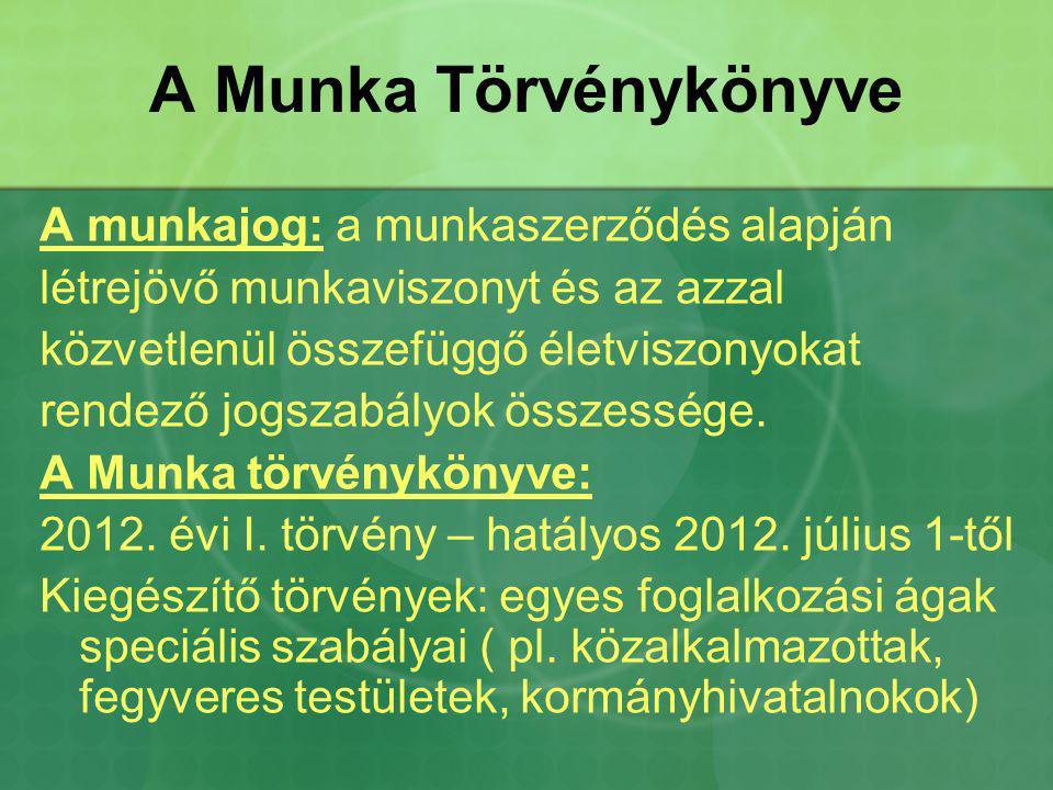 A Munka Törvénykönyve A munkajog: a munkaszerződés alapján
