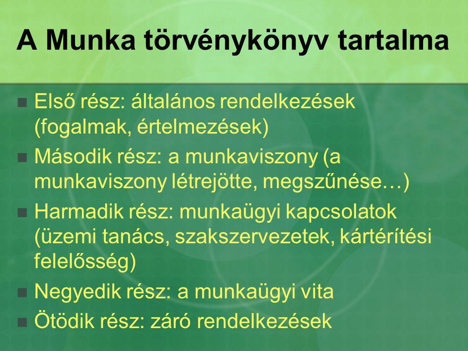 A Munka törvénykönyv tartalma