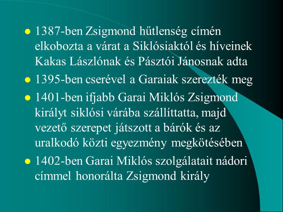 1387-ben Zsigmond hűtlenség címén elkobozta a várat a Siklósiaktól és híveinek Kakas Lászlónak és Pásztói Jánosnak adta