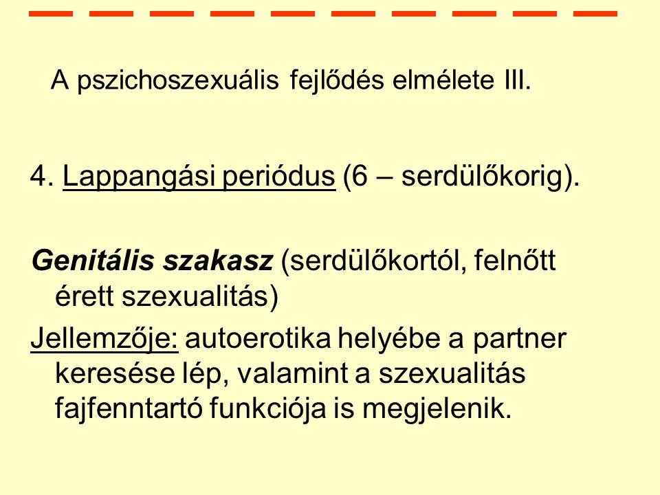 A pszichoszexuális fejlődés elmélete III.