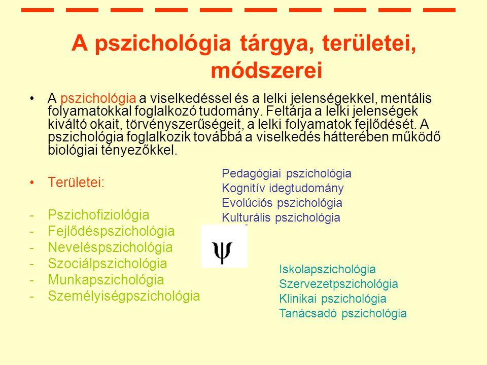 A pszichológia tárgya, területei, módszerei