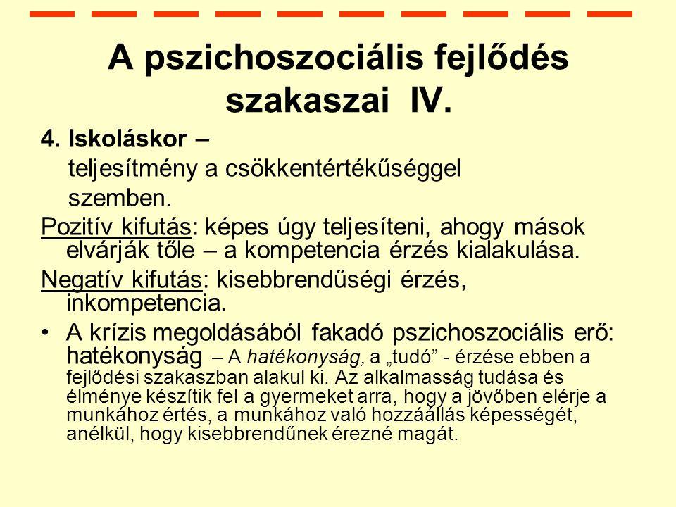 A pszichoszociális fejlődés szakaszai IV.