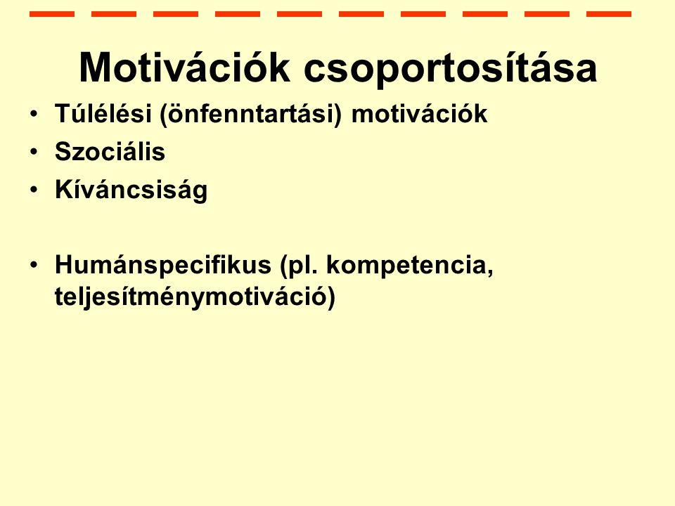 Motivációk csoportosítása