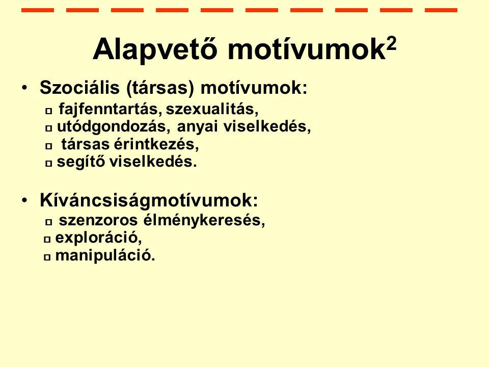 Alapvető motívumok2 Szociális (társas) motívumok: