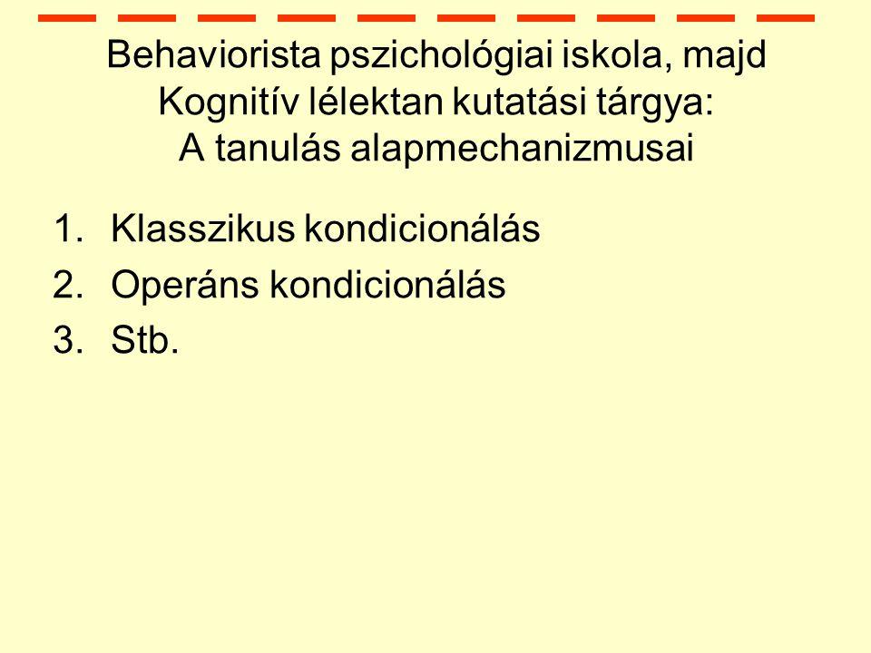 Behaviorista pszichológiai iskola, majd Kognitív lélektan kutatási tárgya: A tanulás alapmechanizmusai