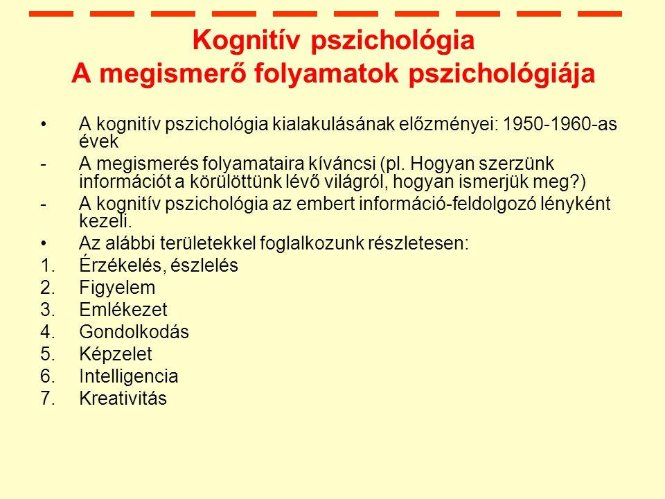 Kognitív pszichológia A megismerő folyamatok pszichológiája
