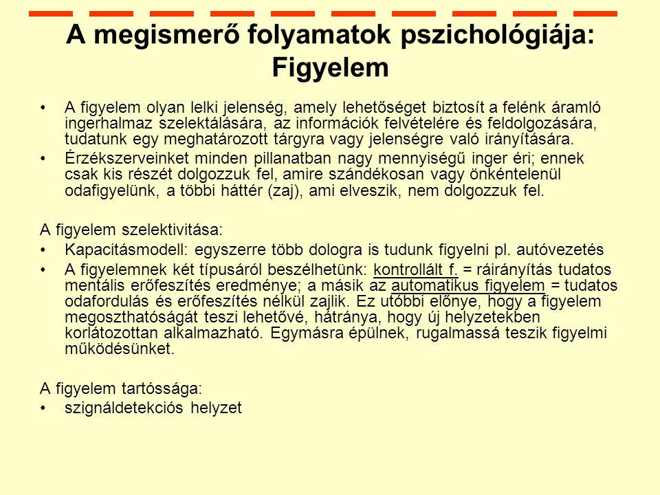 A megismerő folyamatok pszichológiája: Figyelem