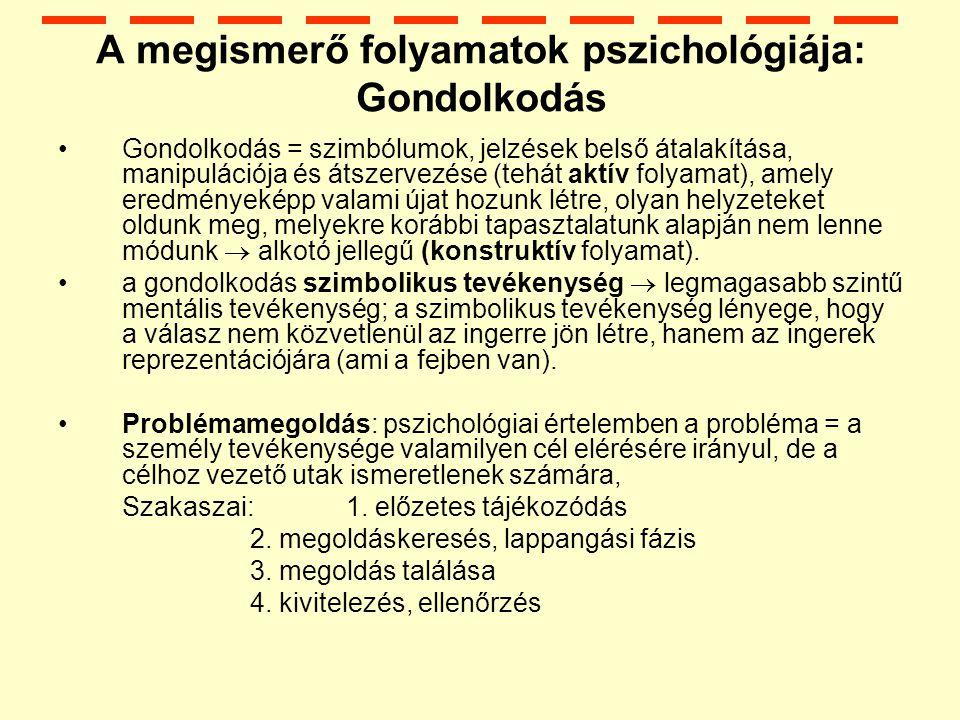 A megismerő folyamatok pszichológiája: Gondolkodás