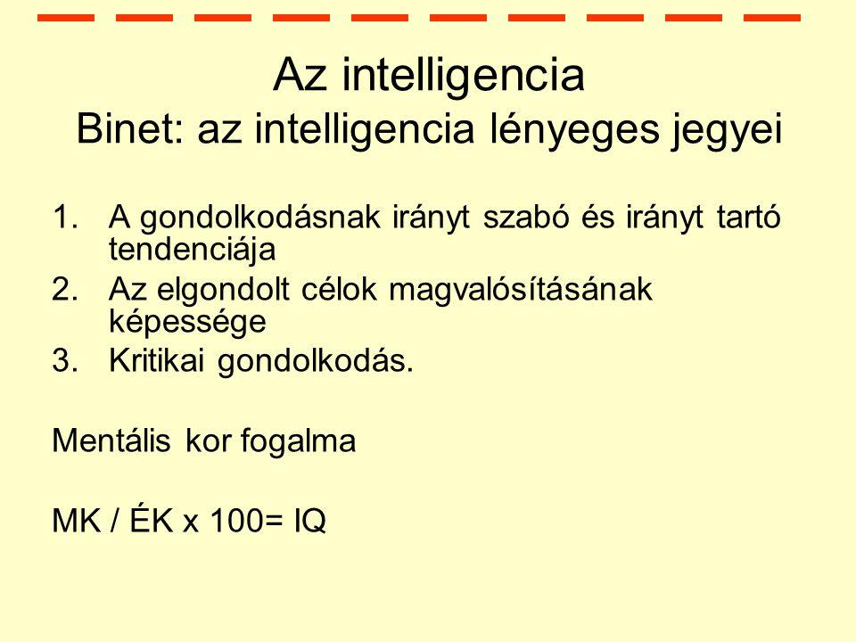 Az intelligencia Binet: az intelligencia lényeges jegyei
