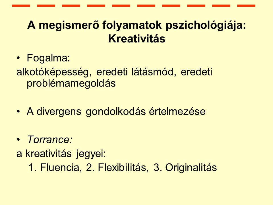 A megismerő folyamatok pszichológiája: Kreativitás