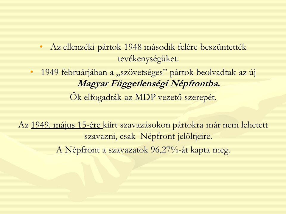 Az ellenzéki pártok 1948 második felére beszüntették tevékenységüket.