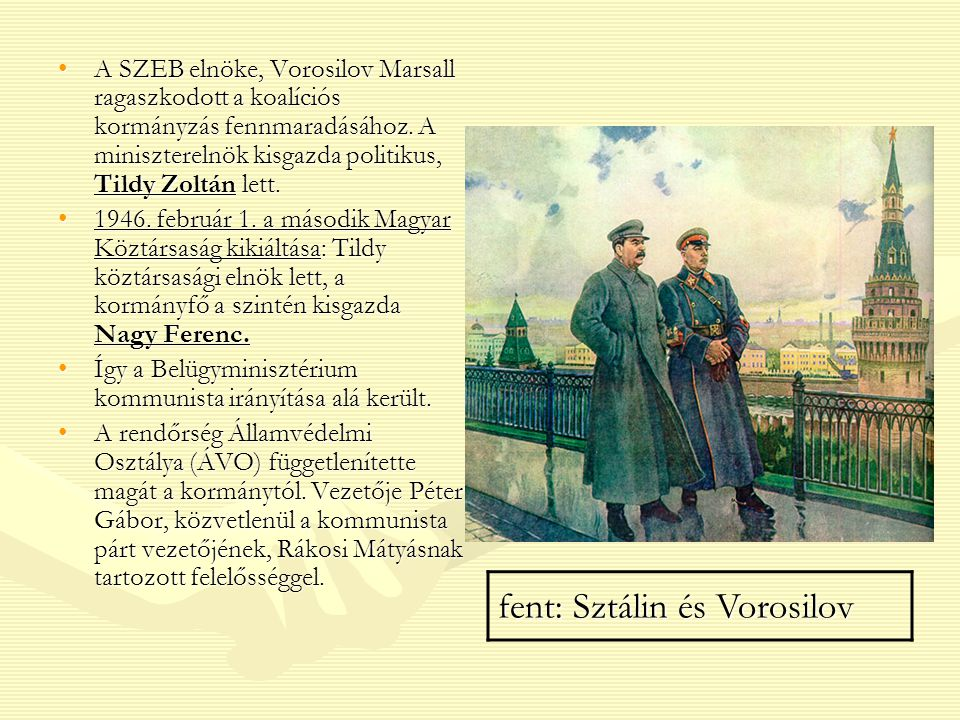 fent: Sztálin és Vorosilov